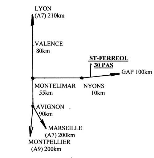 Plan de la Situation géographique de St Ferréol